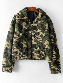 Camo Seam Pockets Teddy Jacket