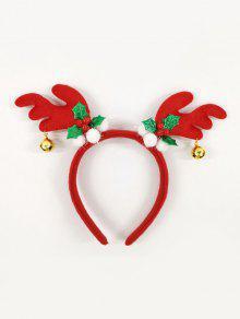 عيد الميلاد الأيل قرن الوعل جرس الشعر Hairband - أحمر
