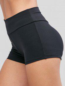 الصلبة الرياضة منتصف الارتفاع البسيطة اللباس الداخلي - أسود S