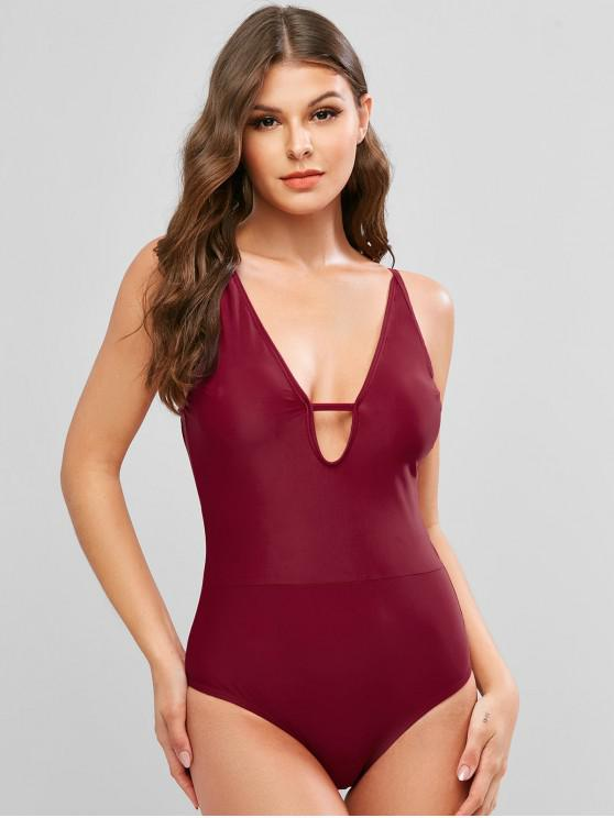 women ZAFUL Plunge Tie Low Back One-piece Swimsuit - FIREBRICK XL