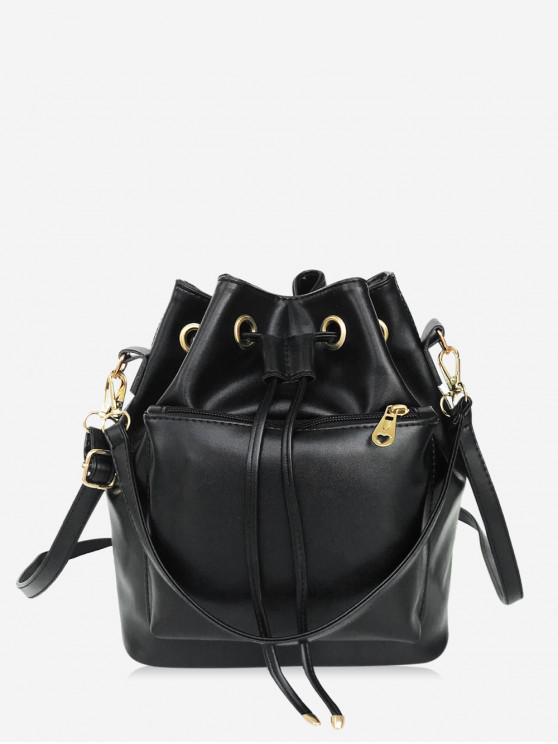 shop Solid String Shoulder Bucket Bag - BLACK