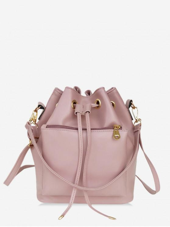 best Solid String Shoulder Bucket Bag - ROSE