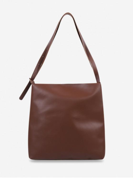 hot Solid Color Soft PU Leather Shoulder Bag - BROWN