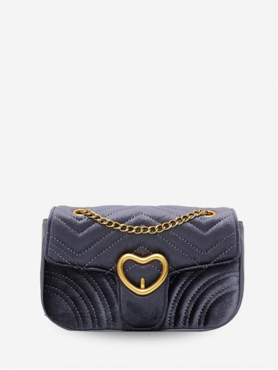 unique Heart Velour Quilted Shoulder Bag - LIGHT SLATE GRAY