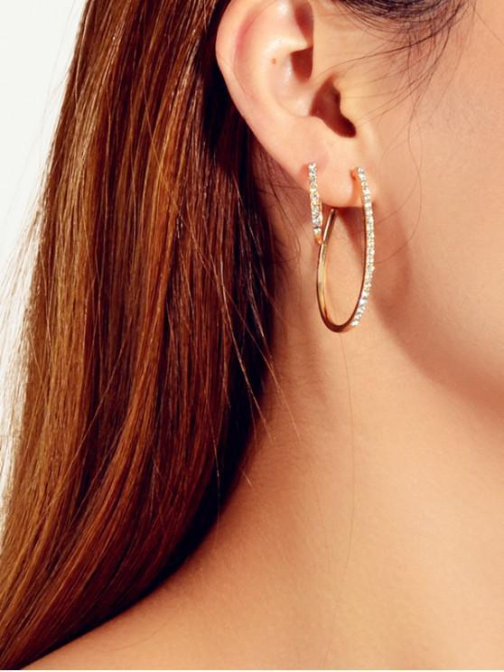 womens 3Pairs Water Drop Rhinestone Earrings Set - GOLD