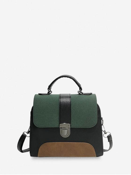 best Retro Color-block Cover Crossbody Bag - DEEP GREEN