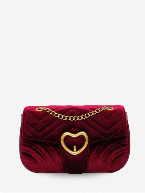 online Heart Velour Quilted Shoulder Bag - RED WINE
