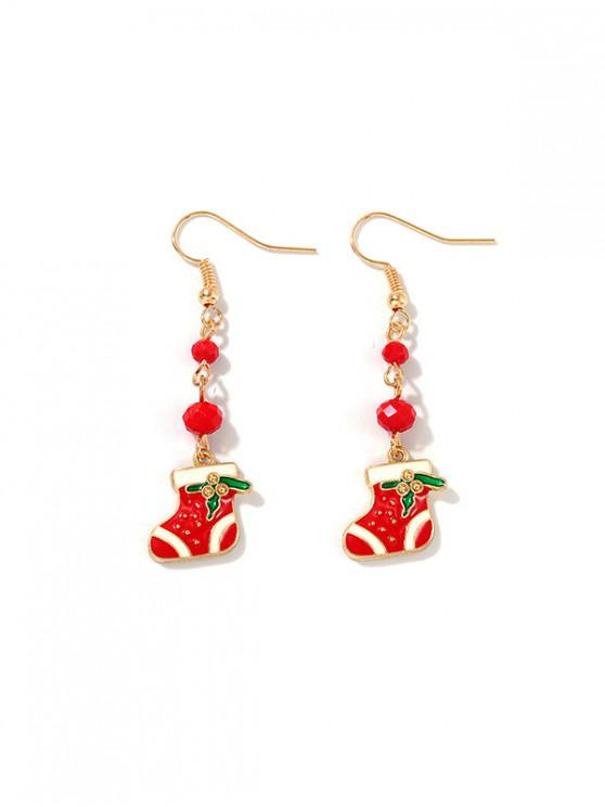 hot Christmas Stocking Beads Dangle Earrings - RED