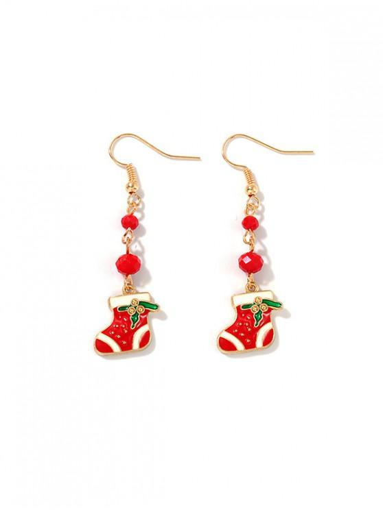 聖誕襪珠耳環 - 紅
