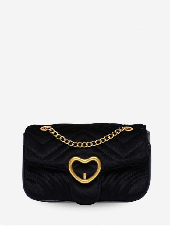 กระเป๋าสะพายผ้ากำมะหยี่หัวใจ - สีดำ