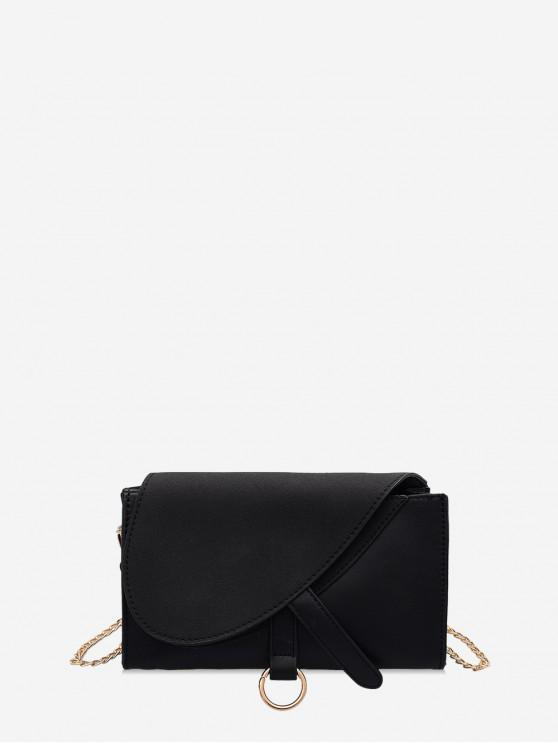 outfits Rectangle Suede Patchwork Crossbody Bag - BLACK