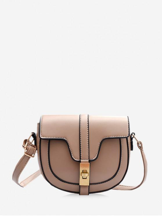 trendy Cover Hasp Crossbody Saddle Bag - LIGHT KHAKI