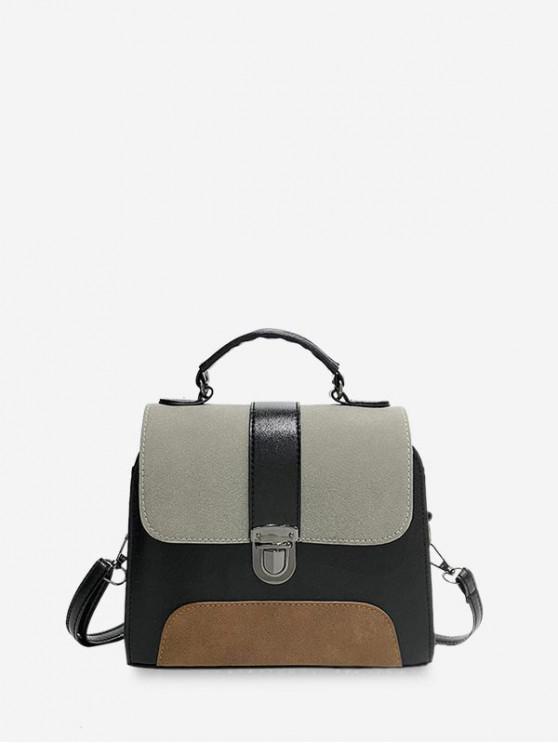 Retro Color-bloc Cover crossbody Bag - Gray Cloud