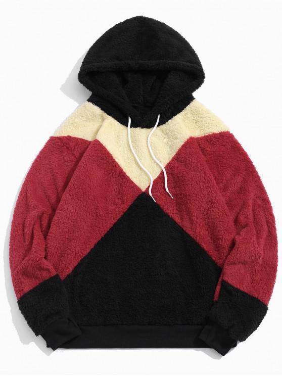 women Colorblock Spliced Drawstring Fluffy Faux Fur Hoodie - BLACK 2XL