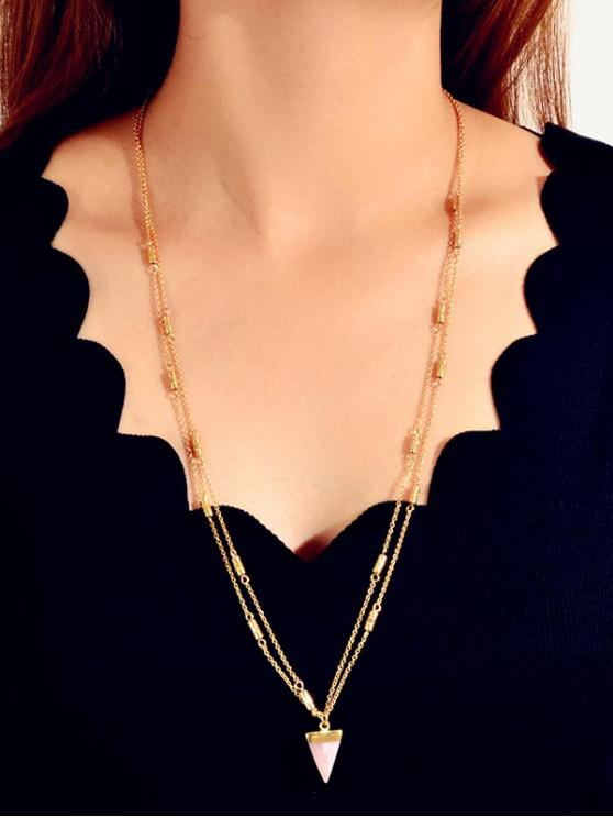 ladies Triangle Pendant Sweater Necklace - GOLD