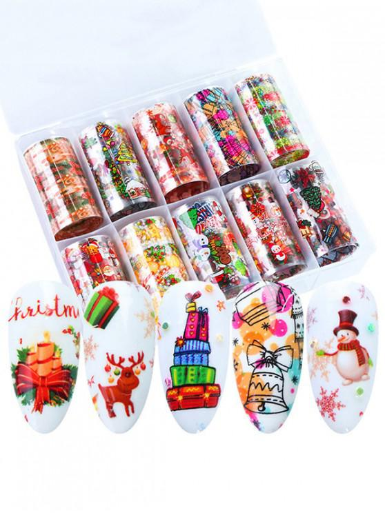 lady 10Pcs Christmas Santa Claus Nail Stickers - MULTI-A