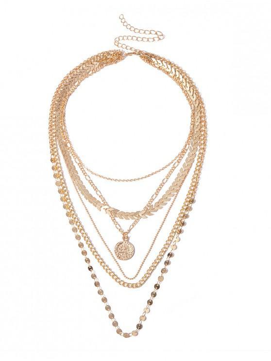new Metallic Layered Pendant Necklace - GOLD