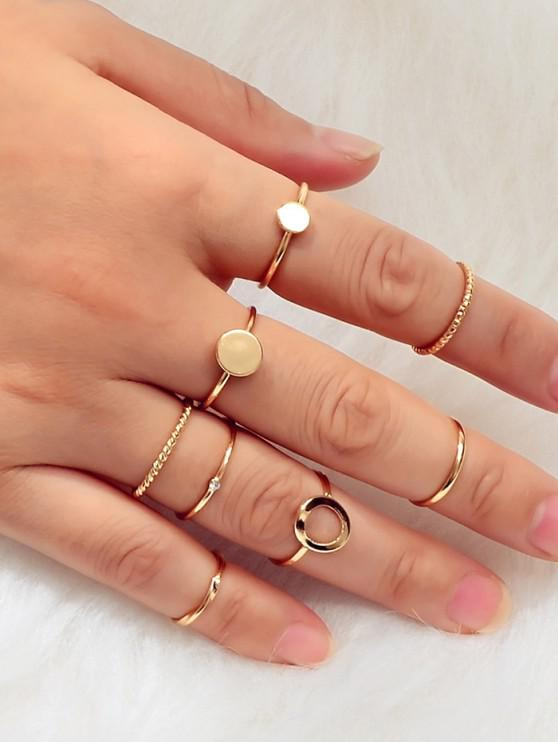trendy Rhinestone Alloy Circle Rings Set - GOLD