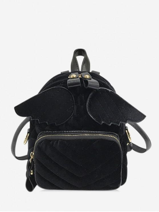 chic Winged Corduroy Front Pocket Mini Backpack - BLACK