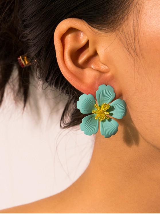buy Carved Flower Stud Earrings - GREEN