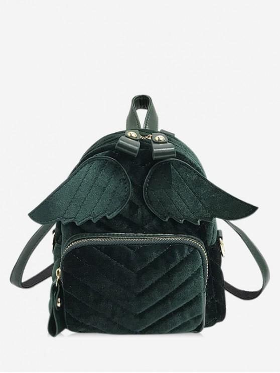 womens Winged Corduroy Front Pocket Mini Backpack - DARK GREEN