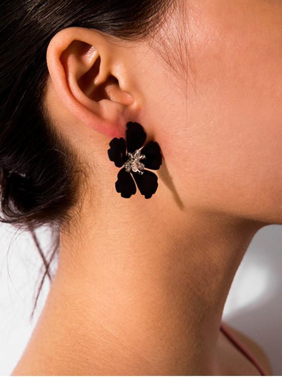 shop Carved Flower Stud Earrings - BLACK