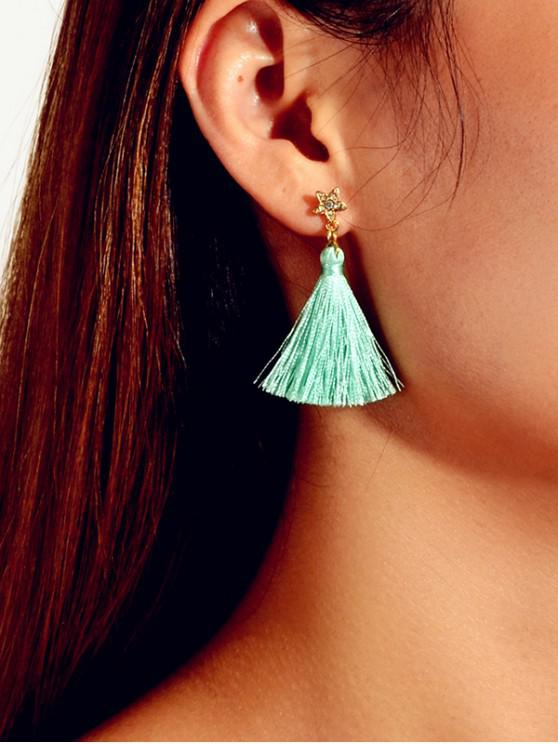 latest Star Rhinestone Tassel Drop Earrings - MACAW BLUE GREEN