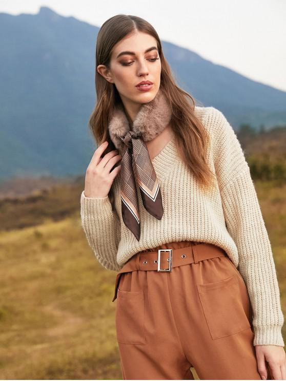 ladies ZAFUL V Neck Drop Shoulder Plain Sweater - LIGHT KHAKI L