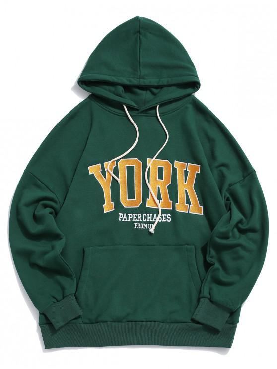 fashion York Letter Embroidery Drawstring Drop Shoulder Hoodie - DEEP GREEN M