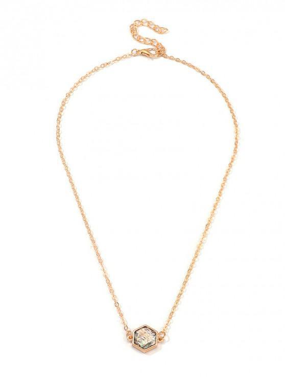 fancy Geometric Cross Heart Clavicle Necklace - GOLD HEXAGON