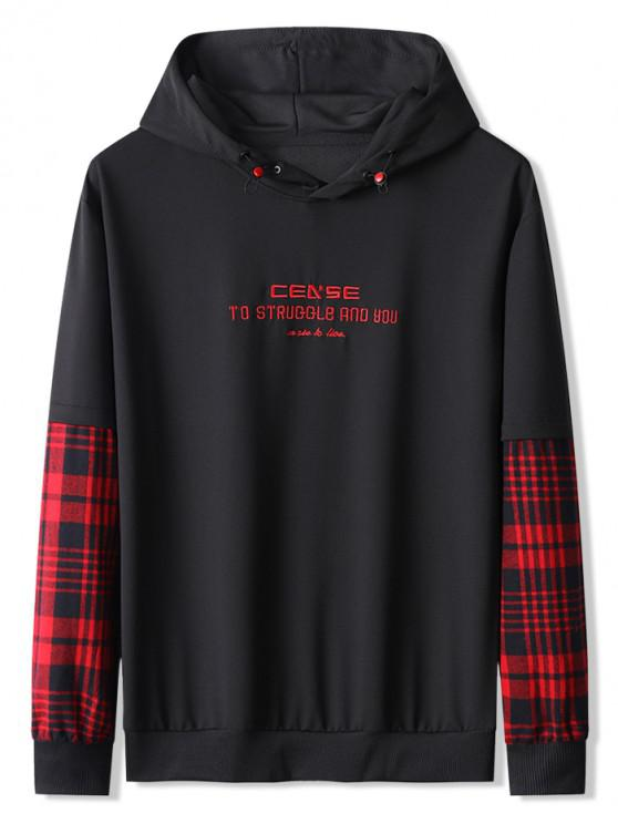 unique Letter Embroidery Plaid Spliced Faux Twinset Hoodie - RED XS