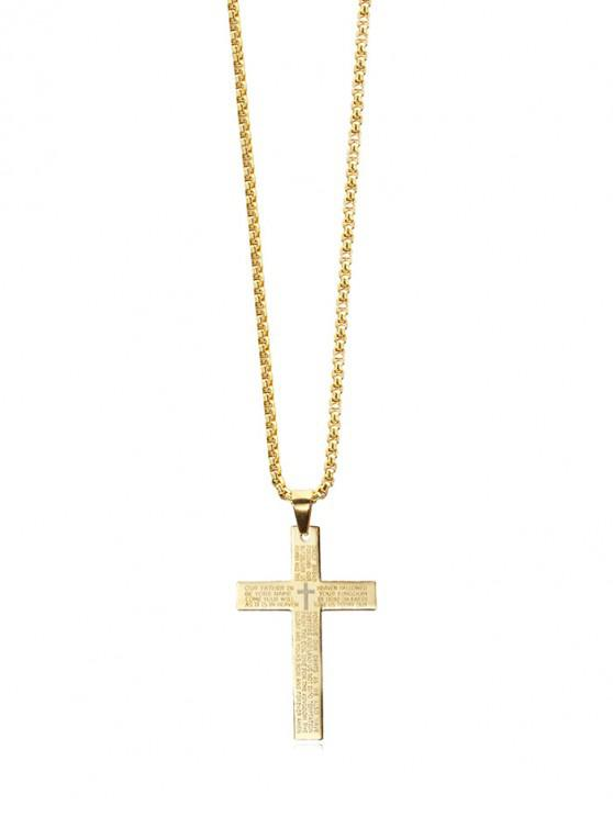 shops Letter Bible Cross Pendant Necklace - GOLD REGULAR