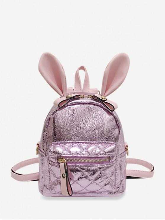 latest Shiny Rabbit Ear Front Pocket Mini Backpack - PIG PINK