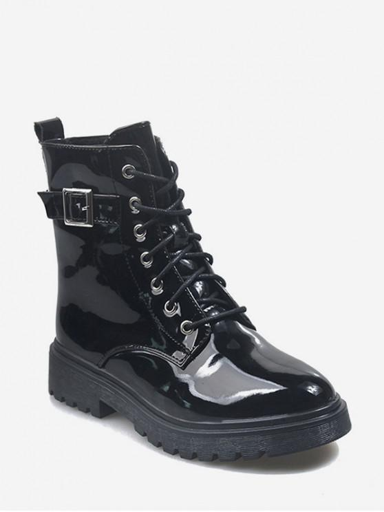 trendy Buckle Accent Patent Leather Cargo Boots - BLACK EU 38