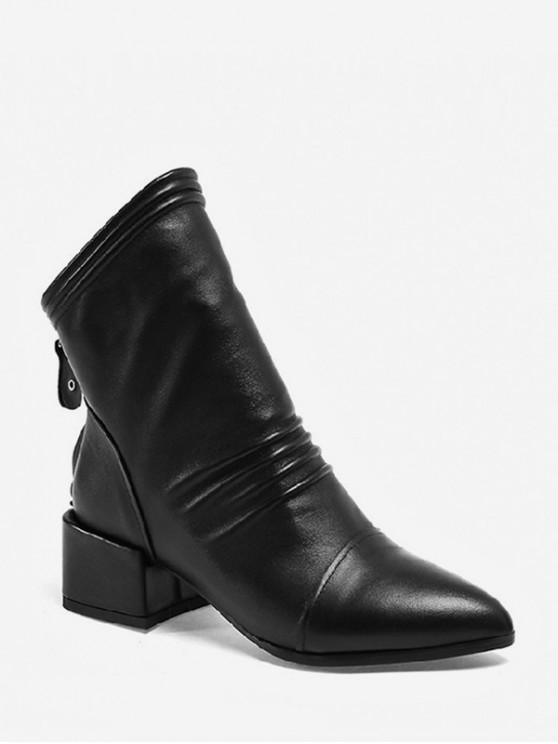 平原尖的鞋頭褶飾矮胖跟靴 - 黑色 歐盟37