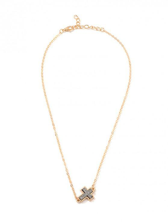 lady Geometric Cross Heart Clavicle Necklace - GOLD CROSS