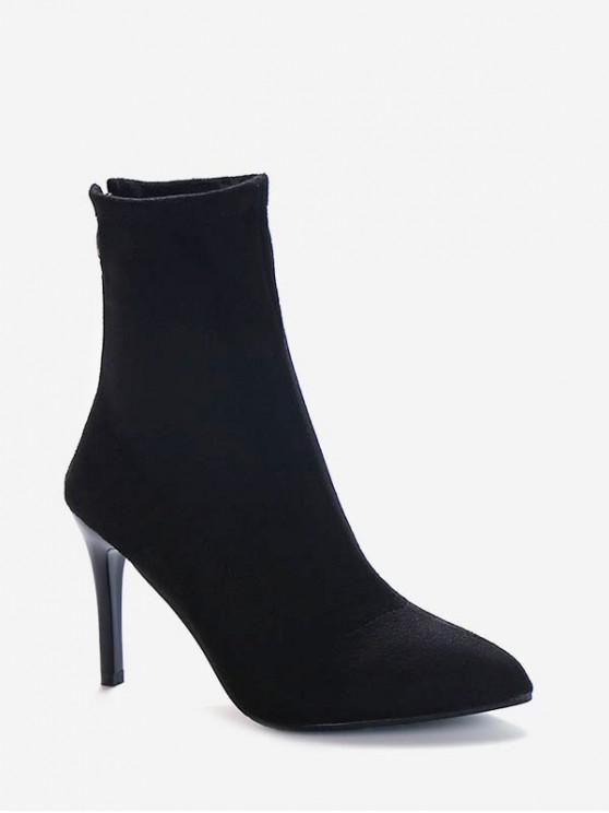 高跟尖頭麂皮靴 - 黑色 歐盟35