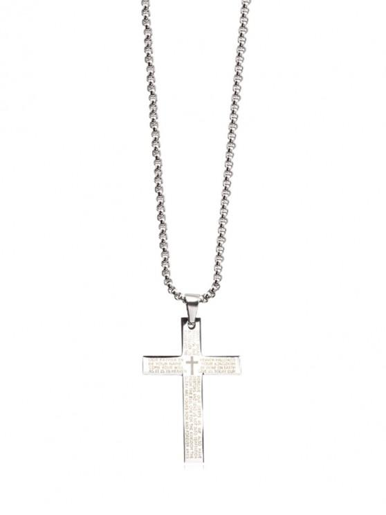 affordable Letter Bible Cross Pendant Necklace - SILVER REGULAR