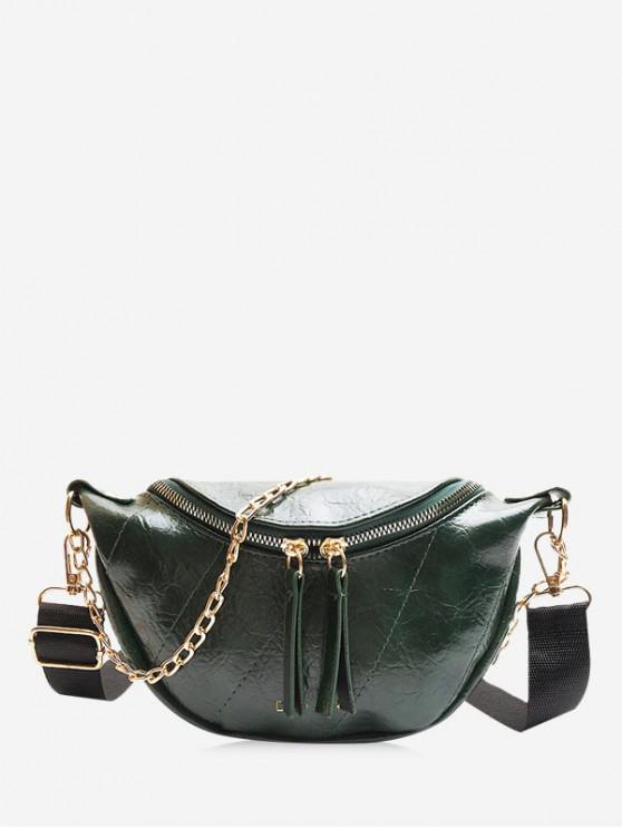 women's Letter Gilding Printed PU Crossbody Bag - DARK GREEN