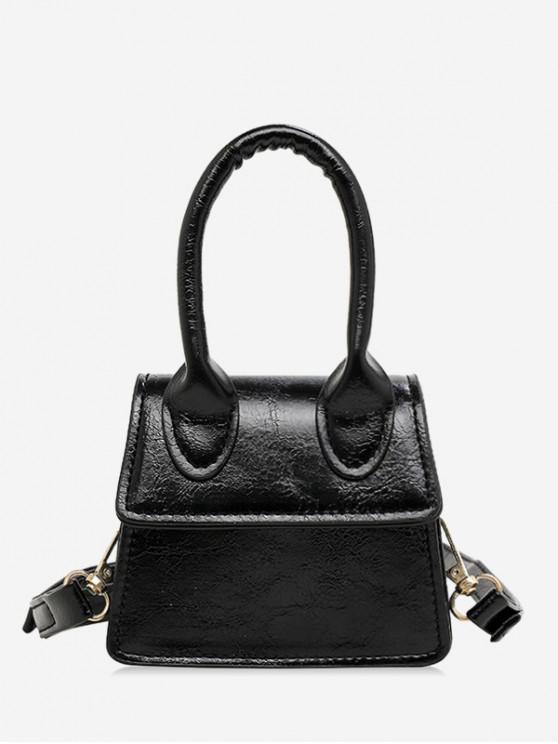 online Mini Solid Shoulder Bag - BLACK