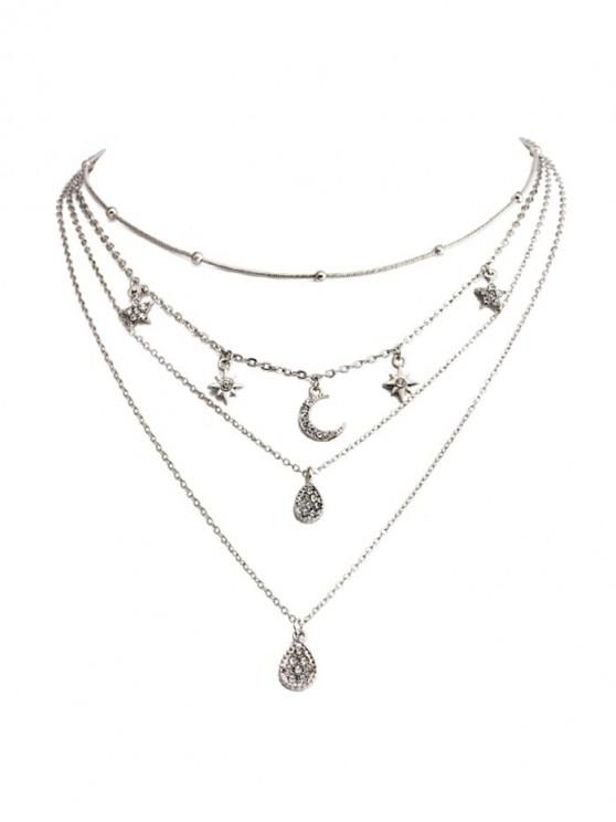 new Star Crescent Layered Pendant Necklace - SILVER