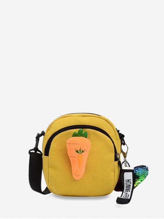 fashion Crossbody Canvas Cartoon Bag - SUN YELLOW