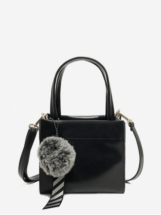 womens Fuzzy Ball Pendant Small Shoulder Bag - BLACK