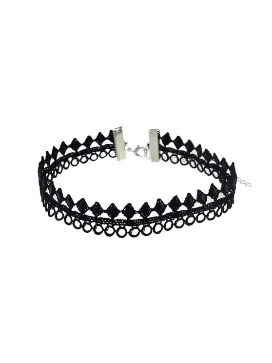best Geometric Hollow Lace Choker Necklace - BLACK