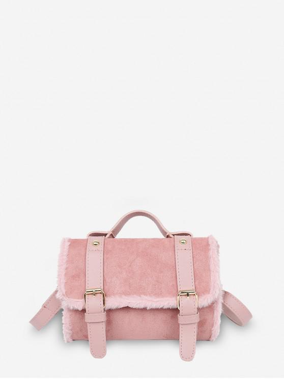 กระเป๋า Crossbody PU ปุยขอบแข็ง - หมูสีชมพู