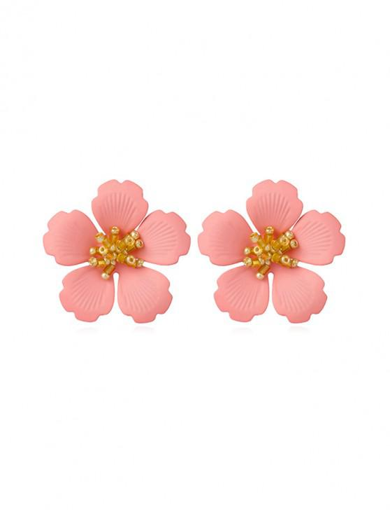 shops Carved Flower Stud Earrings - PINK