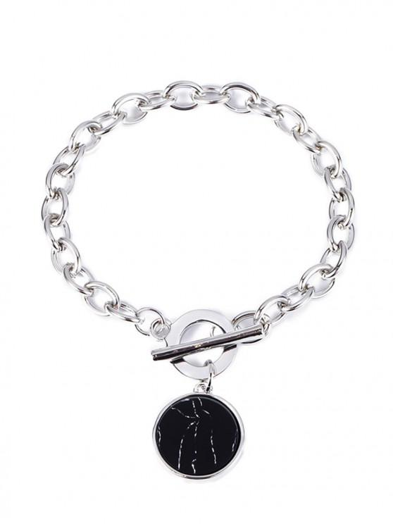 latest Punk Chain Metallic Plate Bracelet - SILVER