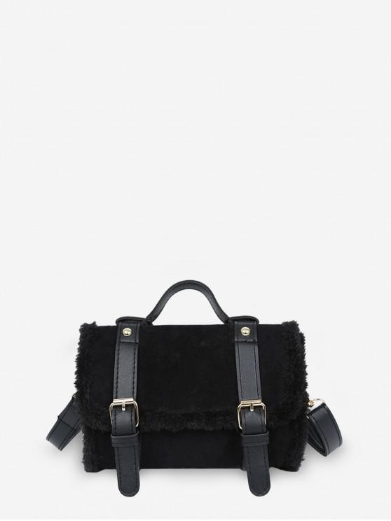 PU Fluffy Edge Bag crossbody Solid - Negru