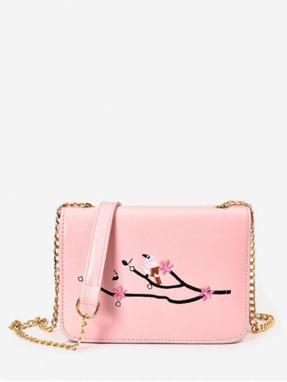fashion Embroidery Chain Small Square Crossbody Bag - PINK