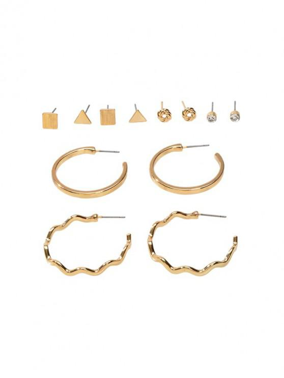 chic 6Pairs Geometric Stud Earrings Set - GOLD